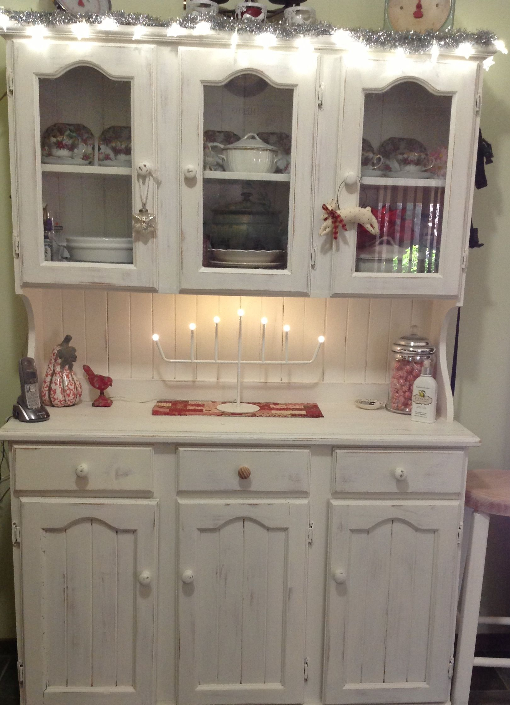 My old pine dresser painted and dressed up for Christmas.