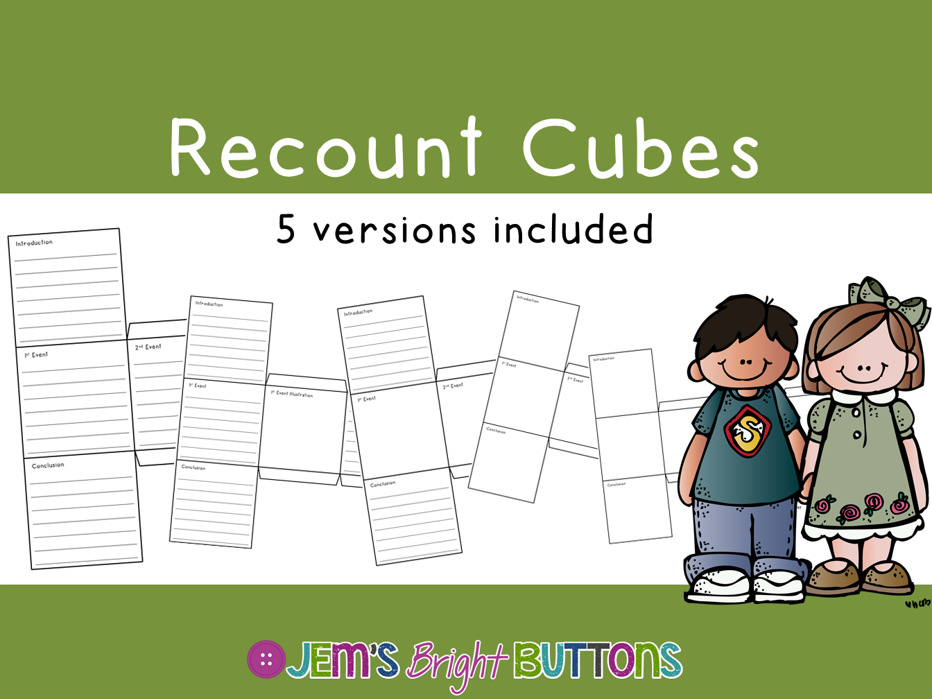 Recount Cubes Writing Activity