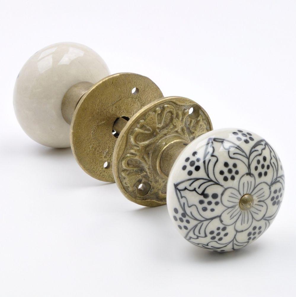 Ceramic Door Knobs Cabinet Drawer Handle Set Button Design Blue x24
