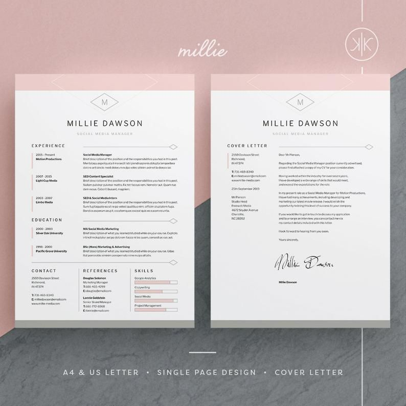 Millie Resume/CV Template Word InDesign Etsy