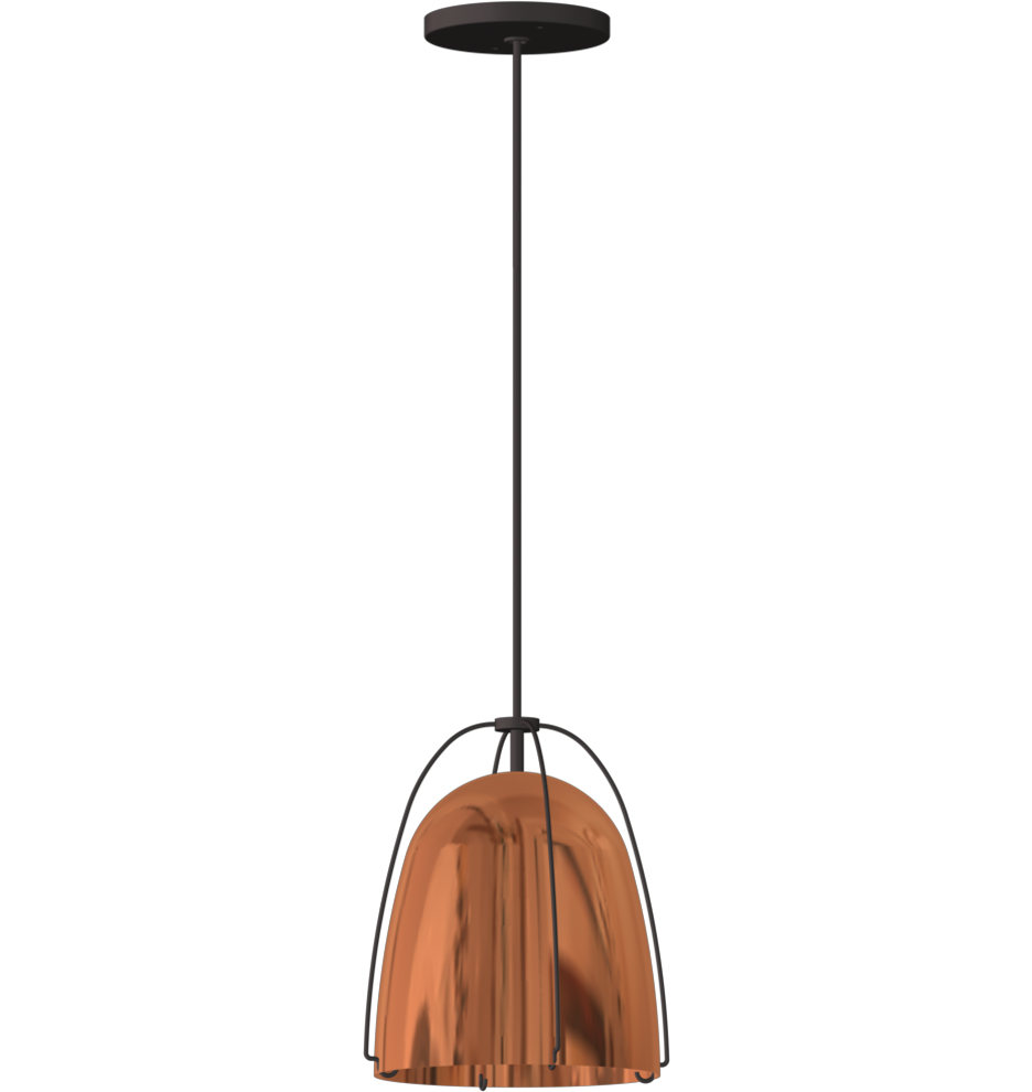 Haleigh 8 Polished Copper Dome Cord Pendant Droplight