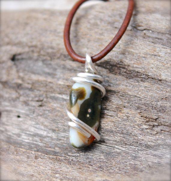 Natural Jasper Jewelry for Men - Leather Necklace for Men - Wire Wrapped Stone Jewelry - Stone Necklace - Ocean Jasper Necklace Boho Jewelry