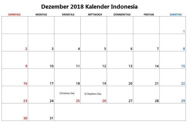 kalender dezember 2018 mit feiertagen