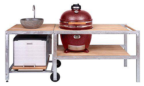 4319- Monolith Outdoorküche rot mit Keramikgrill CLASSIC, Tisch - edelstahl outdoor küche