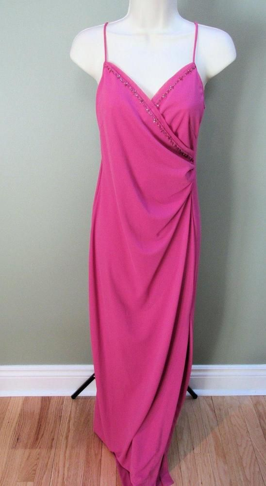 NICOLE MILLER COLLECTION Pink Long Fitted Cocktail Dress M #NicoleMiller #Cocktail