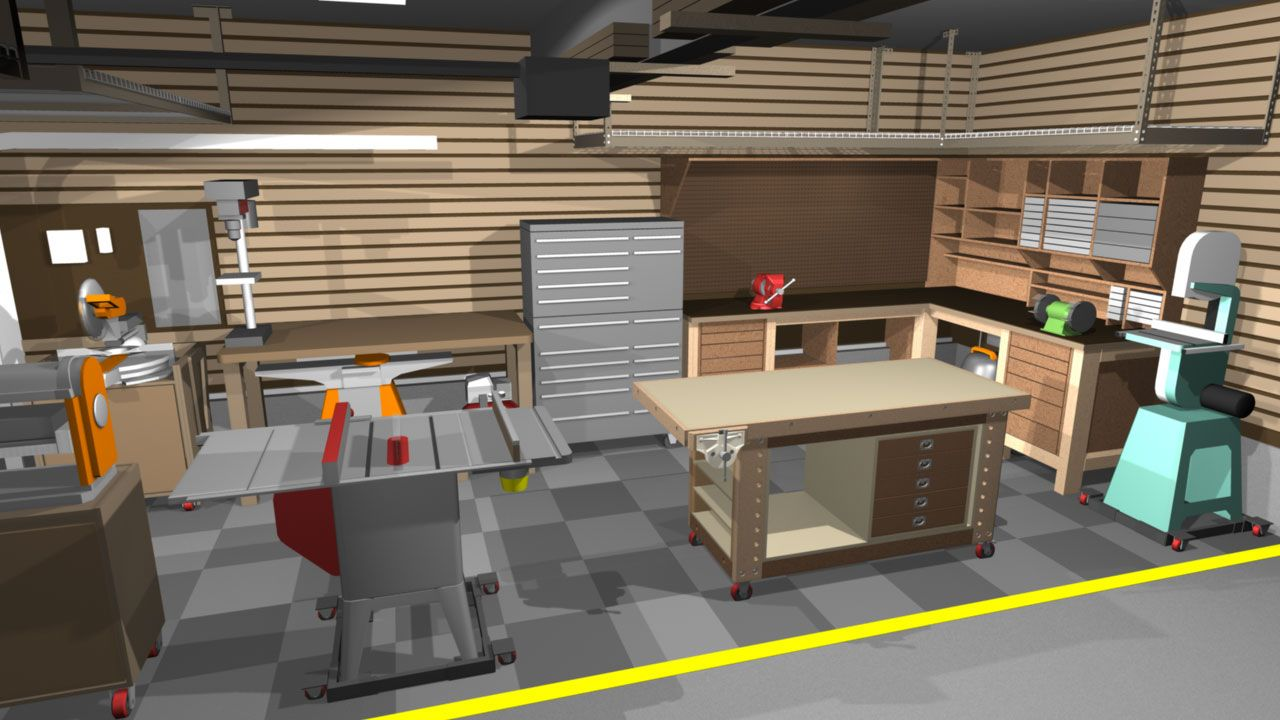 Garage shop corner l shape workbench design woodworking for Machine shop layout software