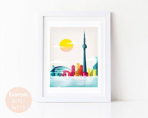 Toronto Print, Toronto Skyline Wall Art Print, Home Decor, Toronto