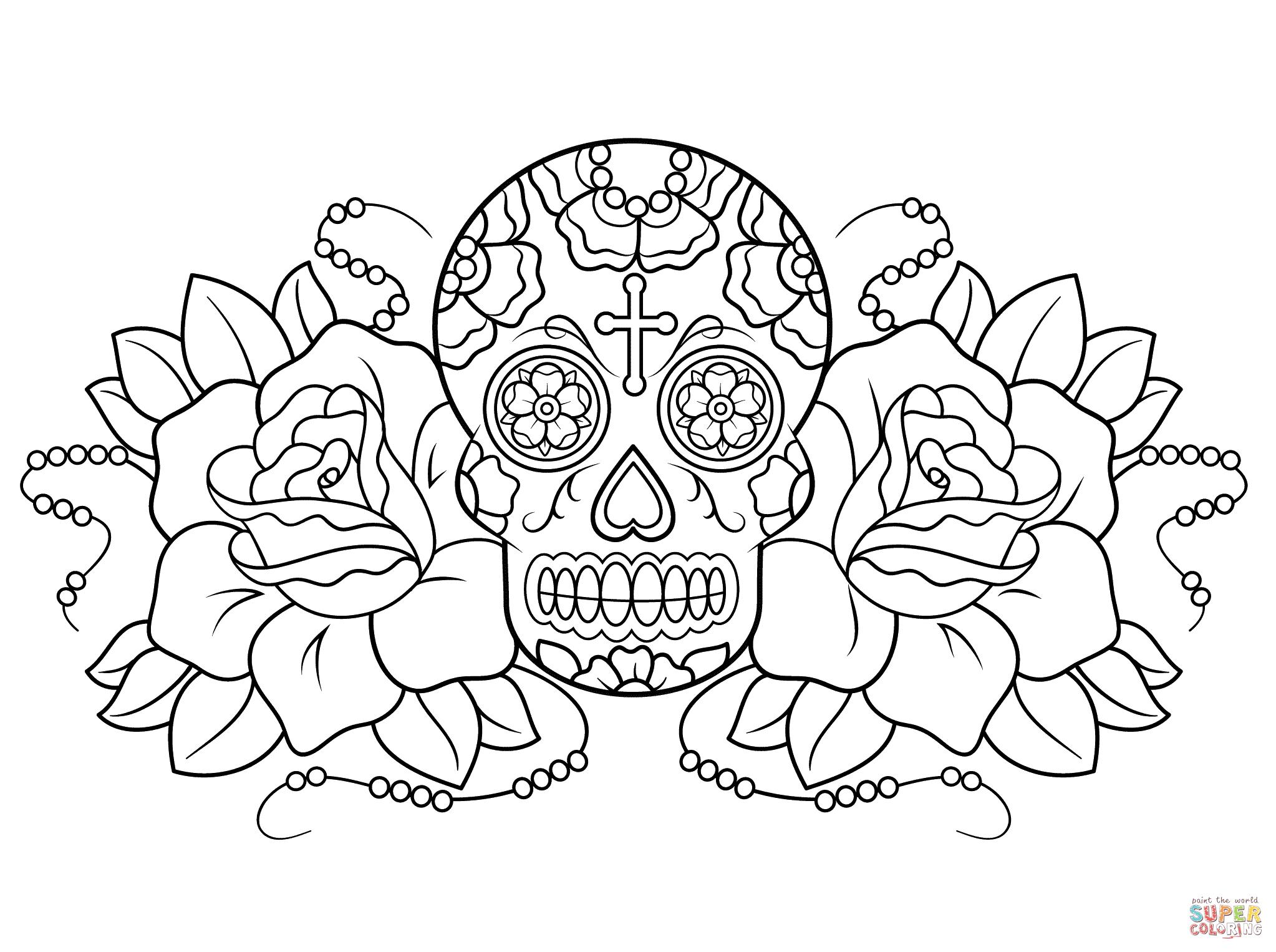 Sugar Skull And Roses Super Coloring Skull Coloring Pages Coloring Pages Free Coloring Pages