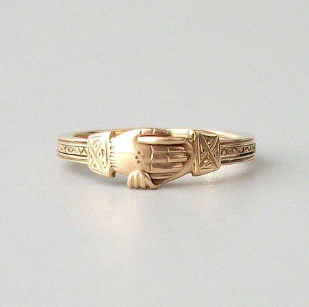 Rare Antique Fede Gimmel Ring Opening Triplet Gold Hands