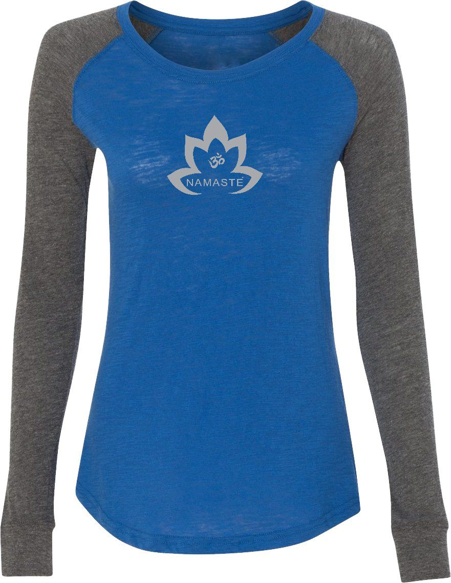 82596be86c Grey Namaste Lotus Preppy Patch Elbow Yoga Tee Shirt | Products ...