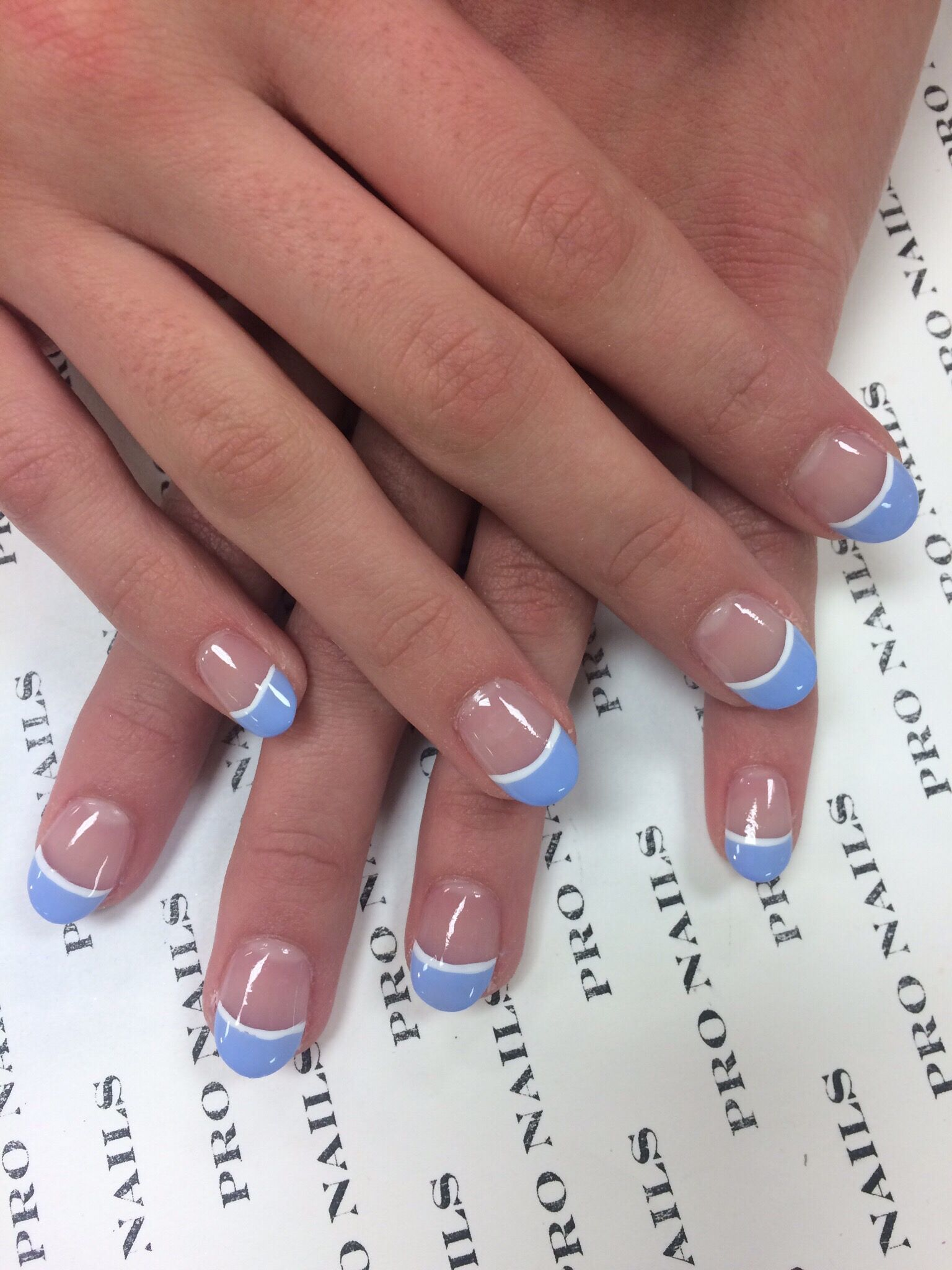 Color tips with white lines nails | Pro nails | Lines on nails ...