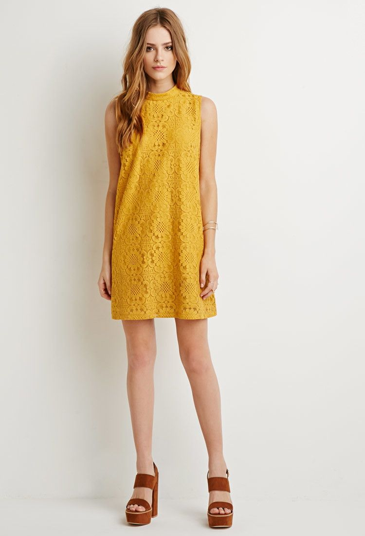 Embroidered Lace Overlay Shift Dress - Dresses - 2000173983 - Forever 21 EU 966d4181789