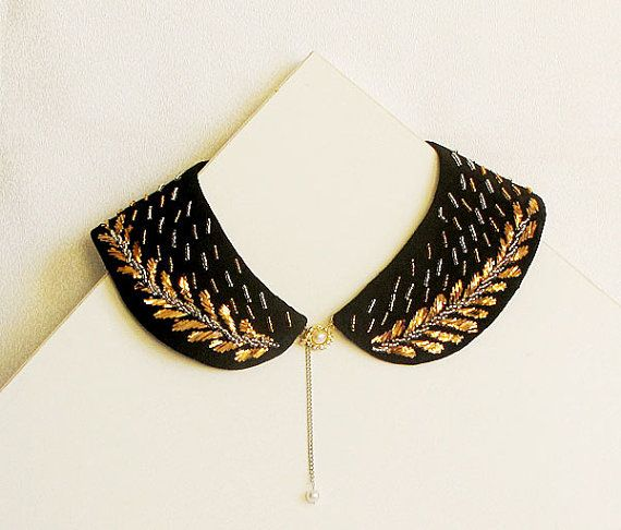 Collar Necklace, Gold and Silver, Women's Accessories, Vintage Style Hand Embroidered-18th century-TURKISH vintage embroidered art on Etsy, $67.00