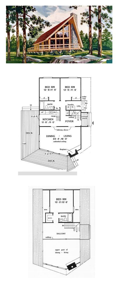 Contemporary Style House Plan 90603 With 3 Bed 2 Bath A Frame House Plans A Frame House Cottage Plan
