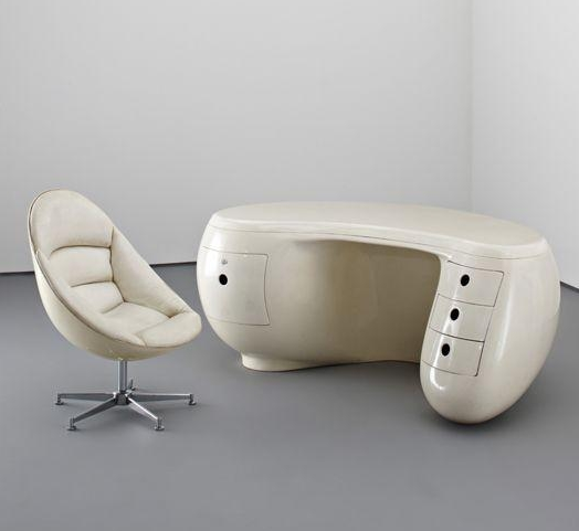 Maurice calka 39 s iconic boomerang desk with matching for Space age design