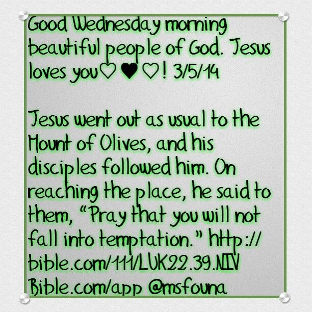 "Good Wednesday morning beautiful people of God. Jesus loves you♡♥♡! 3/5/14  Jesus went out as usual to the Mount of Olives, and his disciples followed him. On reaching the place, he said to them, ""Pray that you will not fall into temptation."" http://bible.com/111/LUK22.39.NIV Bible.com/app @msfouna"