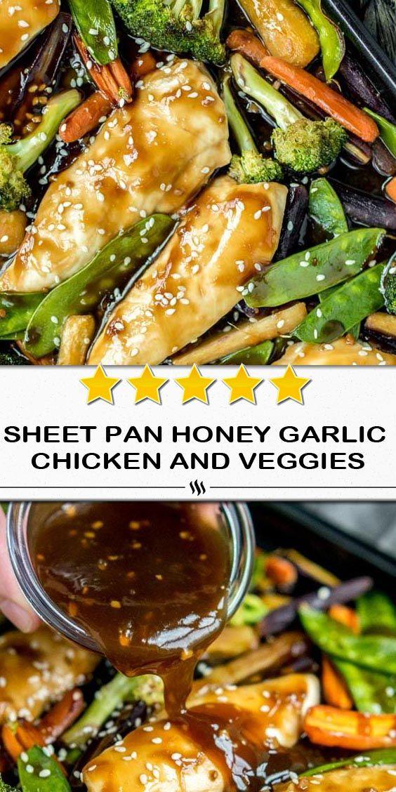 Sheet Pan Honey Ail Chicken and Veggies est un mélange de poulet tendre et de légumes enrobés d'un miel doux…