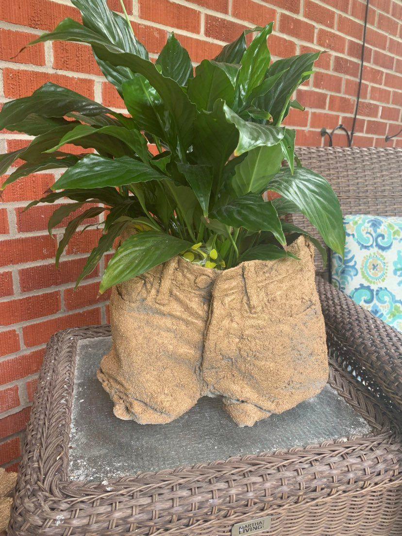 Concrete cement blue jean flower planter pot flower