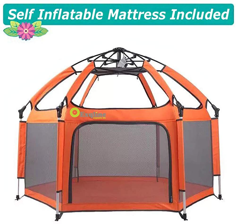 Baby Playpen Exqline Kids Playpen With Safety Mattress And Stakes And Canopy For Infants And Babies Foldable And Compac Kids Playpen Baby Playpen Kids Mattress