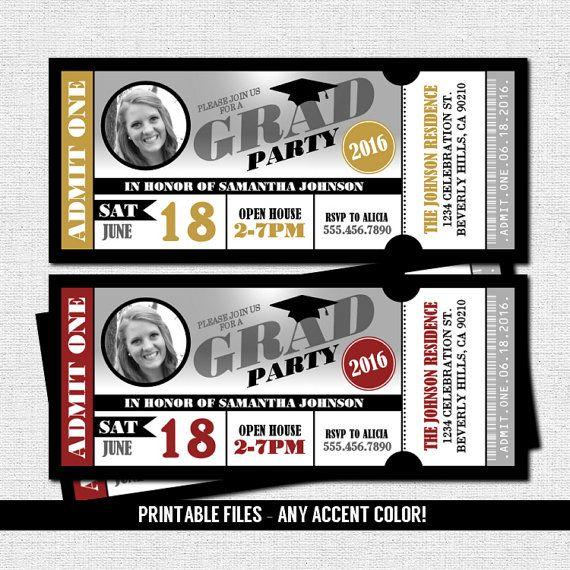 graduation party ticket invitations - class of 2020