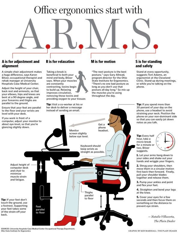 How To Set Up A Computer Work Station For Correct Office Ergonomics Office Health Infographic Health Office Safety