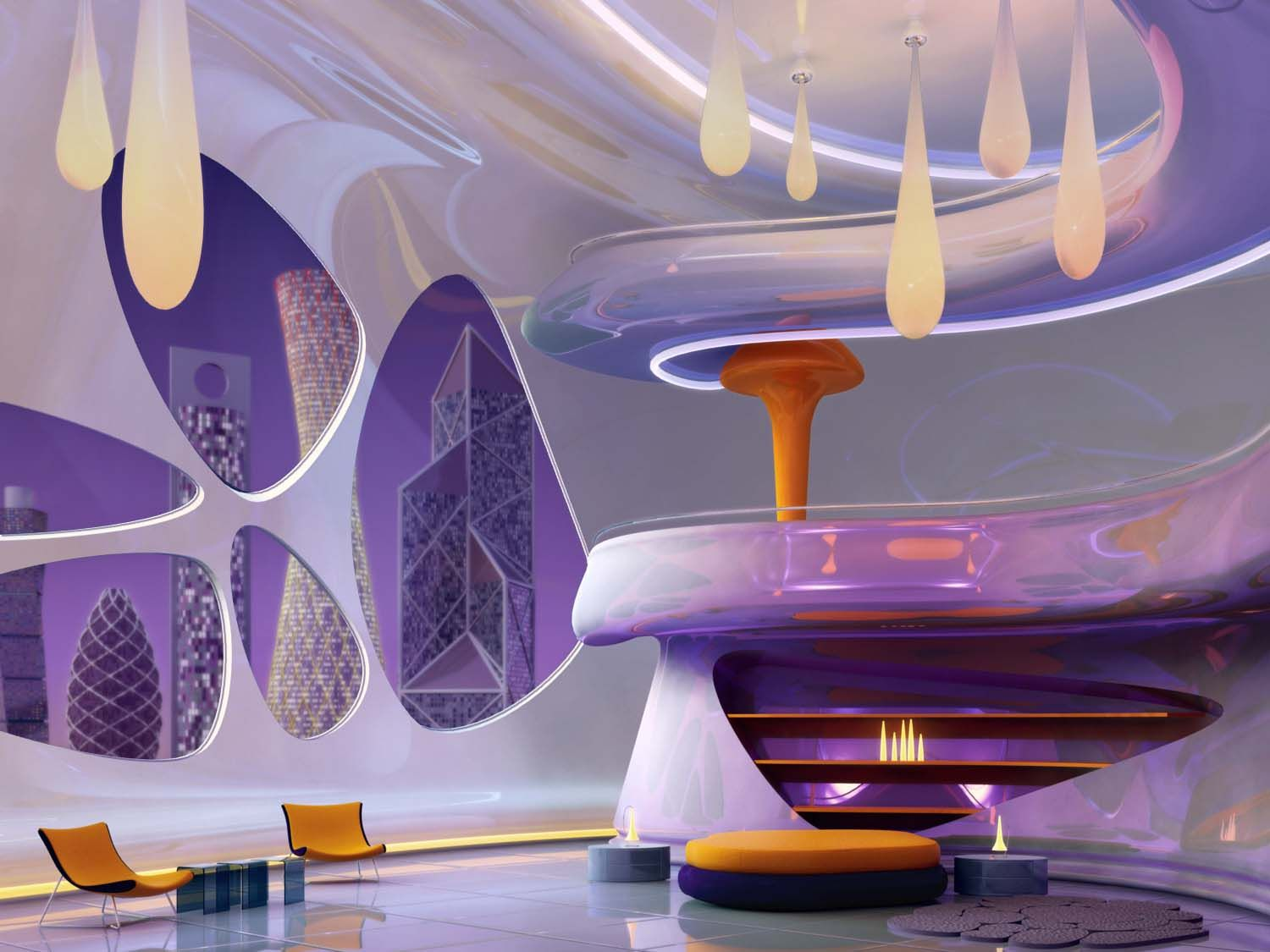 Incredible interior alien ship inspired futuristic bedroom for Space age design