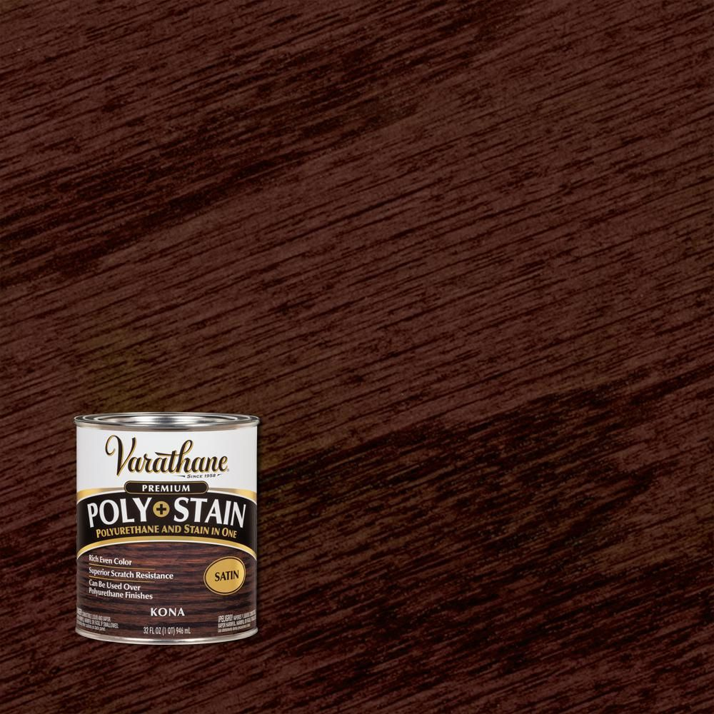 Varathane 1 Qt Kona 450 Satin Oil Based Interior Stain And Polyurethane 2 Pack 349566 In 2020 Interior Wood Stain