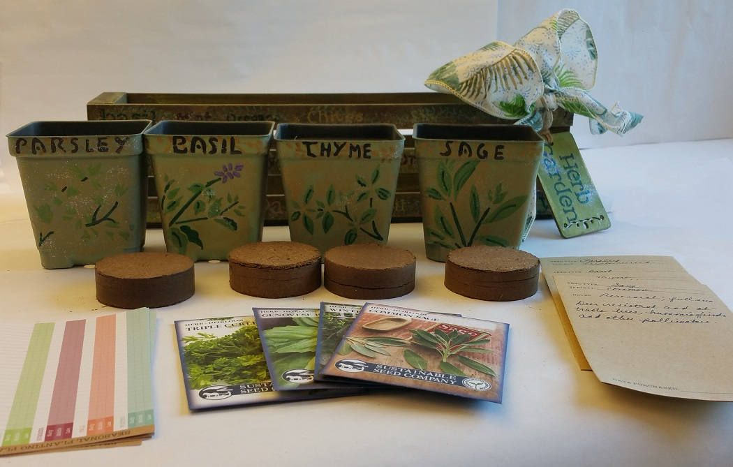 Custom order herb gardens gift baskets and containers
