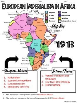 European Imperialism in Africa Map Handout Africa map Africa and