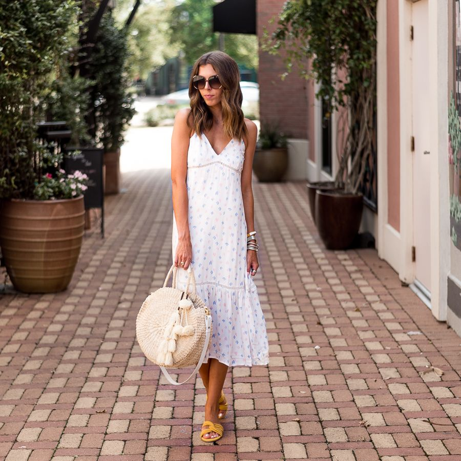 This Breezy Ruffle Hem Midi Dress Is Perfect For Warm Summer Days Paired It With Easy Slide Sandals For A Casual D Summer Dresses Dresses Cute Summer Dresses [ 900 x 900 Pixel ]