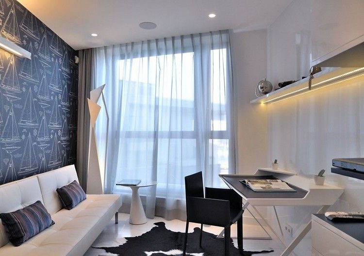 bureau maison noir et blanc avec meubles modernes et dco en voiliers
