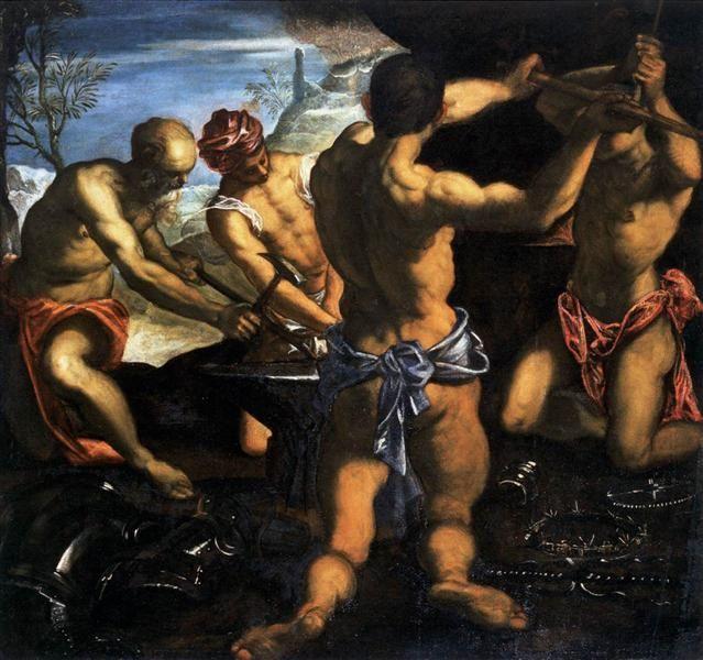 Forja de Vulcano, 1576-1577 - Tintoretto
