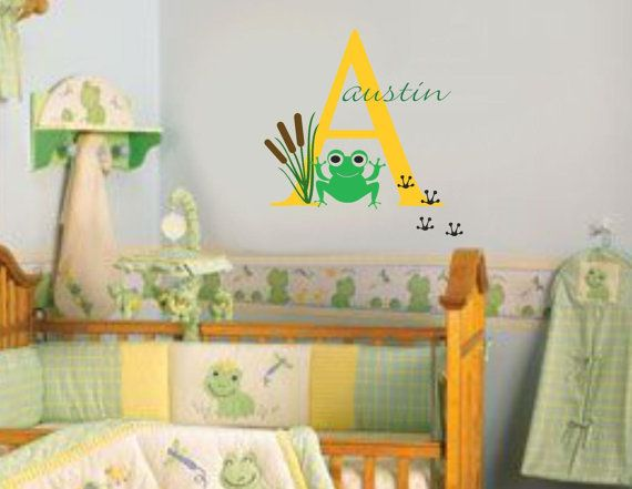 Frog Name Nursery Wall Decal Boy Vinyl By Allonthewall 28 00