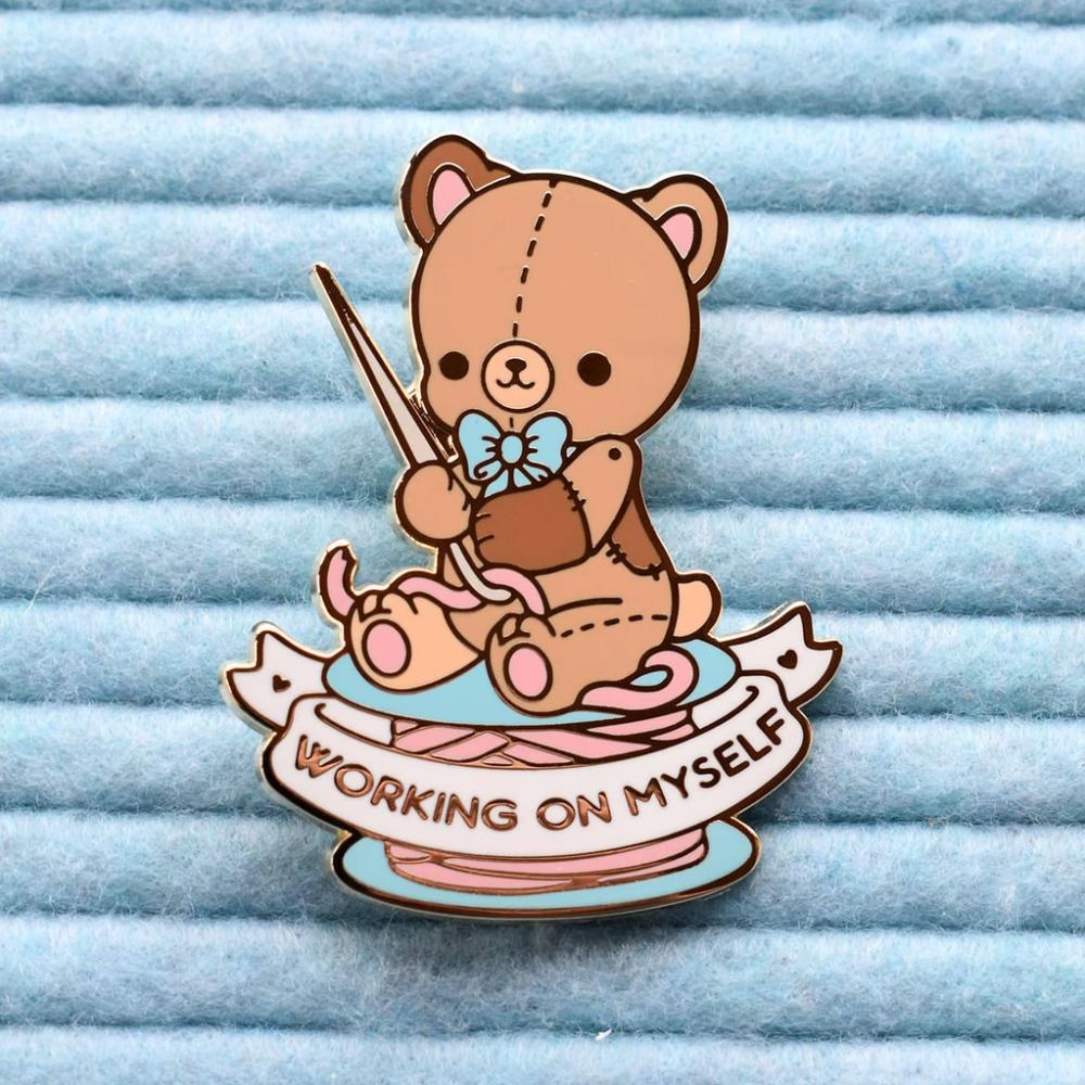 Working on Myself Teddy Bear Enamel Pin