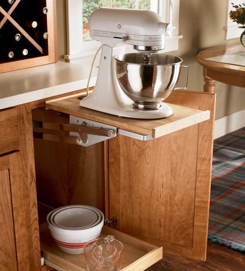 Storage solutions details base mixer shelf kraftmaid for Implementos para cocina