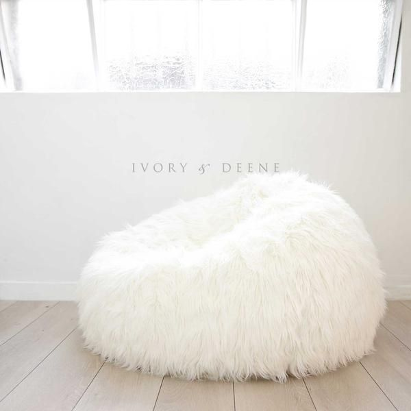 0545b2e3fa27 White Fur Bean Bag Chair