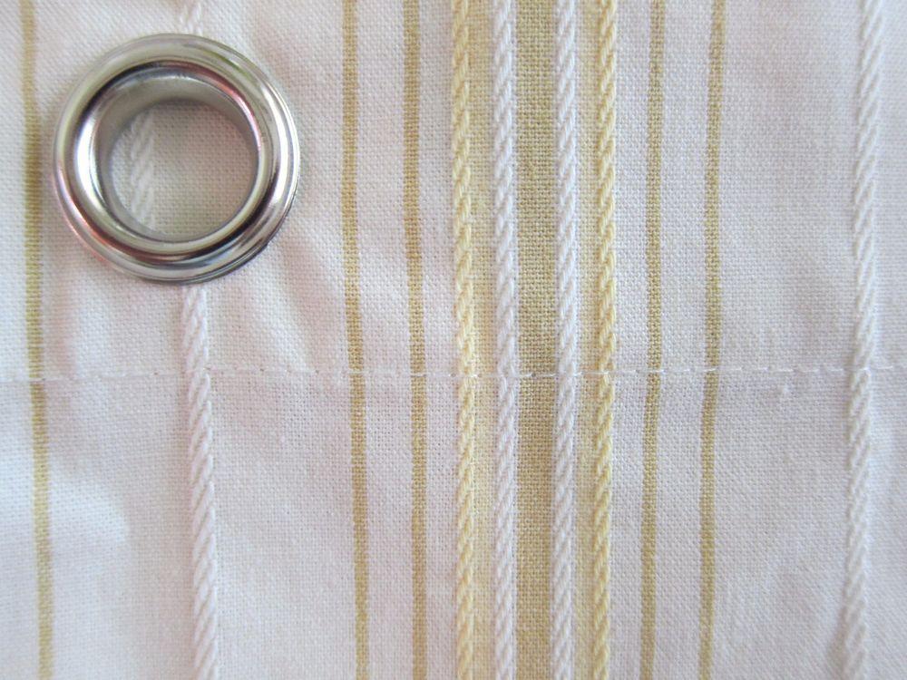 Cream Stripe Shower Curtain Restoration Hardware Tan Yellow Cotton