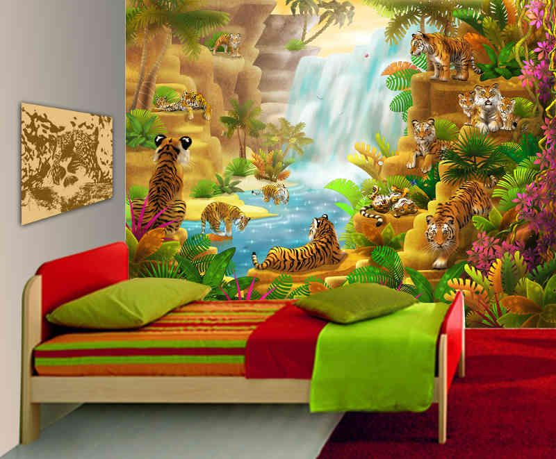 Large wall mural tigers kids bedroom playroom classroomkid murals for furniture ideas with room