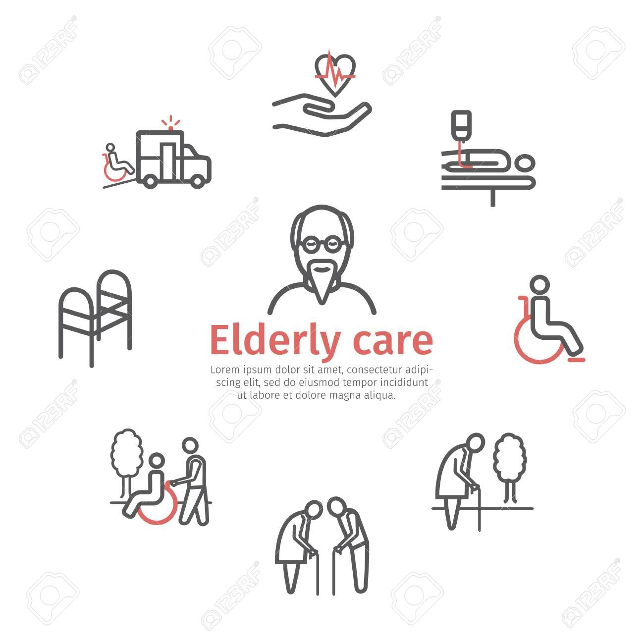 Elderly Services Icons Set Care Help And Accessibility
