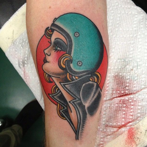Biker lady by brad stevens tattoo me pinterest for Traditional motorcycle tattoo