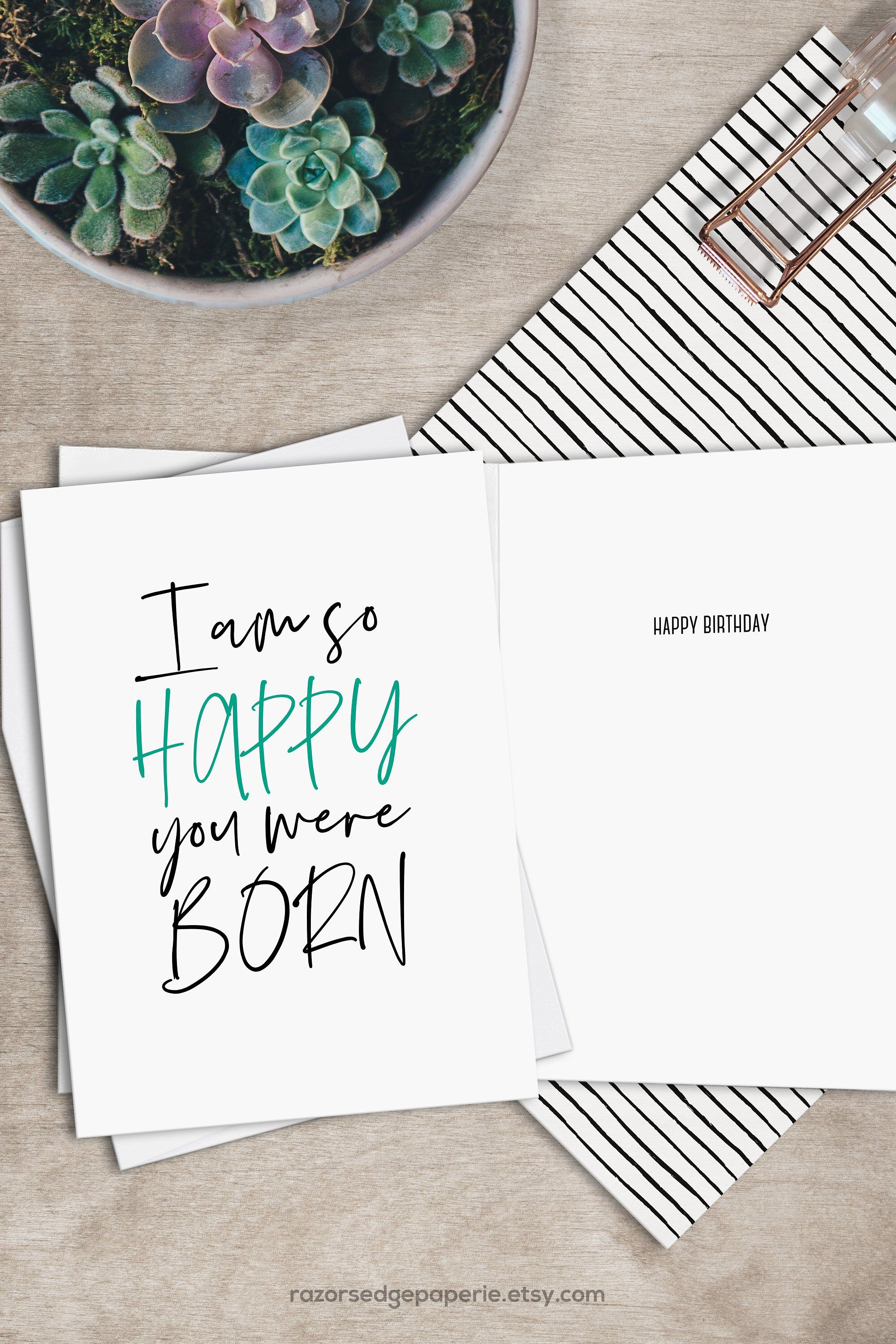 DIY Funny Printable Birthday Card INSTANT DOWNLOAD With FREE Envelope Template Get 10