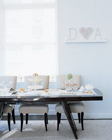 Jennifer Miller Symonds hosted a white-themed tea party for her sister and guests at her apartment. The decorations, food, and favors were all inspired by her light, white apartment and its airy, open-sky vistas -- the windows were framed for the occasion with fragile white sweet peas lined up on the sills.