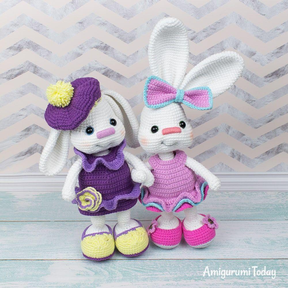 Pretty Bunny amigurumi in pink dress - Amigurumi Today | 1000x1000