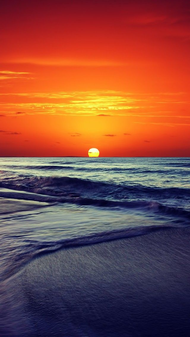 Ocean Sunset 2018 iOS 11 iPhone X Wallpaper Background HD