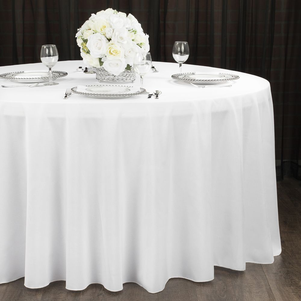 Polyester 120 Round Tablecloth White With Images White Table Cloth Round Tablecloth 120 Round Tablecloth