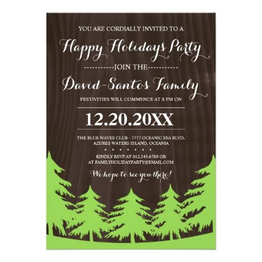 Forest Holiday Party Invites  Holiday Party Invitations Party