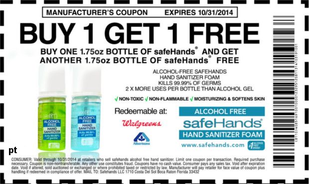 Bogo Hand Sanitizer Coupon Print Out For A Free Bottle Of