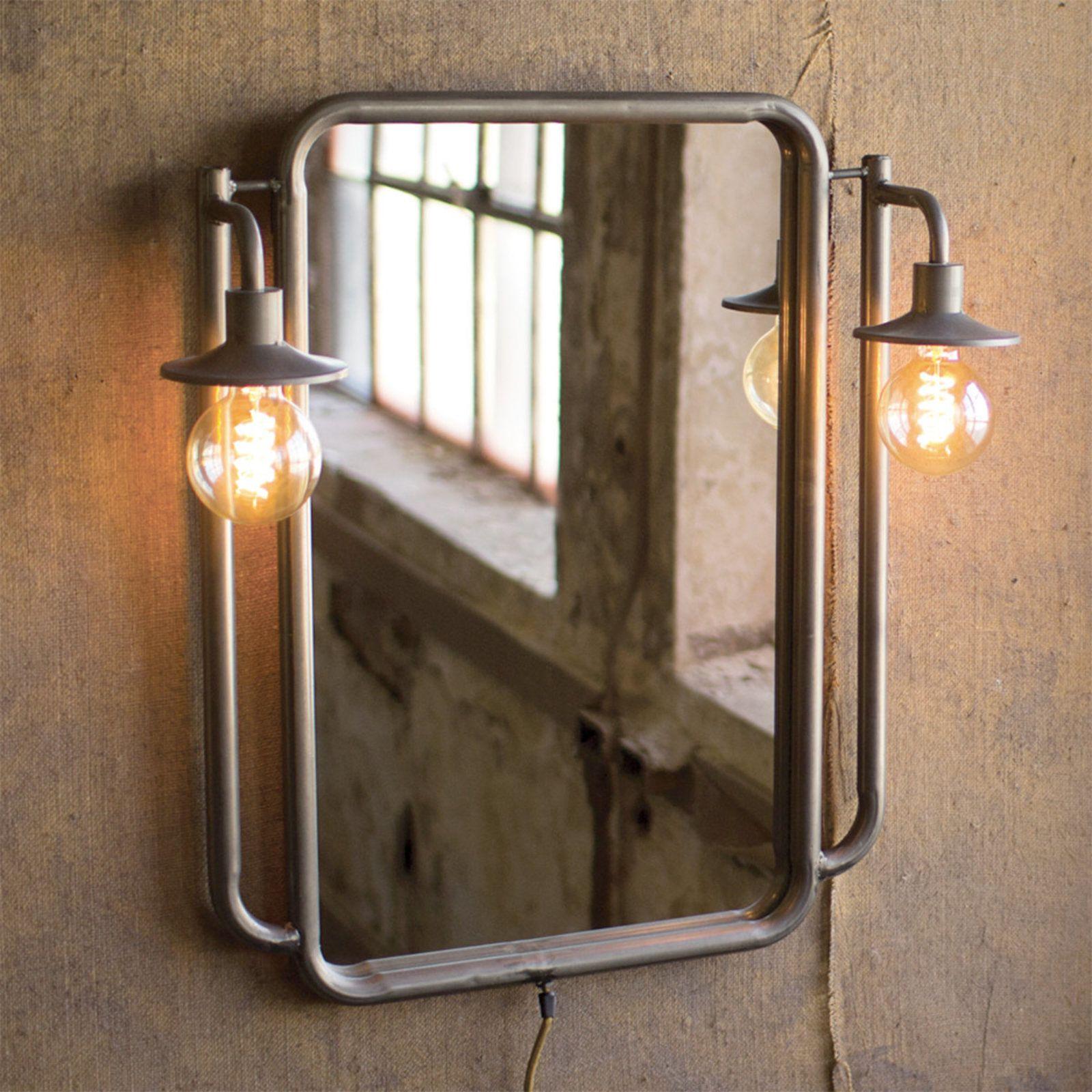 Farmhouse Vintage Lighted Mirror Industrial Light Fixtures Industrial Mirrors Vintage Industrial Lighting