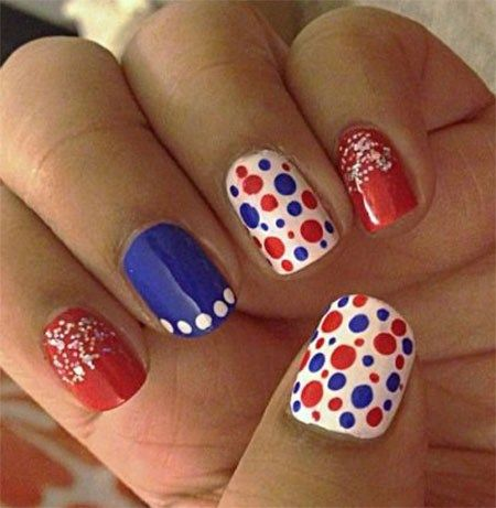 Nail Art Designs Red White And Blue To Bend Light