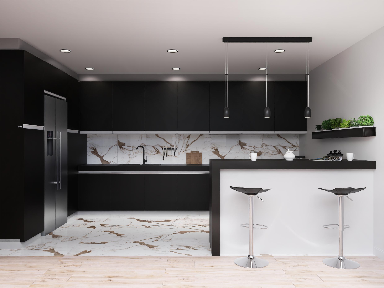 Projekt Eleganckiej Czarno Bialej Kuchni Z Plytka Marmurowa Azario Stone Satuario Home Decor Home Decor